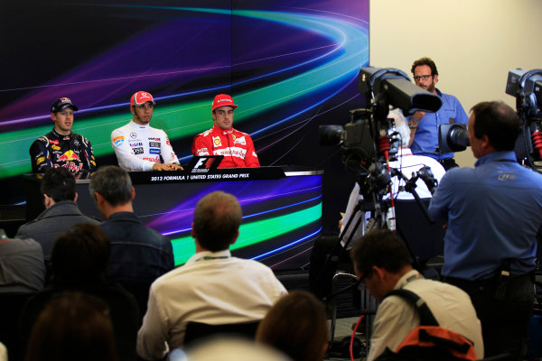 Circuit of the Americas, Austin, Texas, United States of America. Sunday 18th November 2012. Sebastian Vettel, Red Bull Racing, 2nd position, Lewis Hamilton, McLaren, 1st position, and Fernando Alonso, Ferrari, 3rd position, in the Press Conference.  World Copyright:Charles Coates/  ref: Digital Image _X5J4268