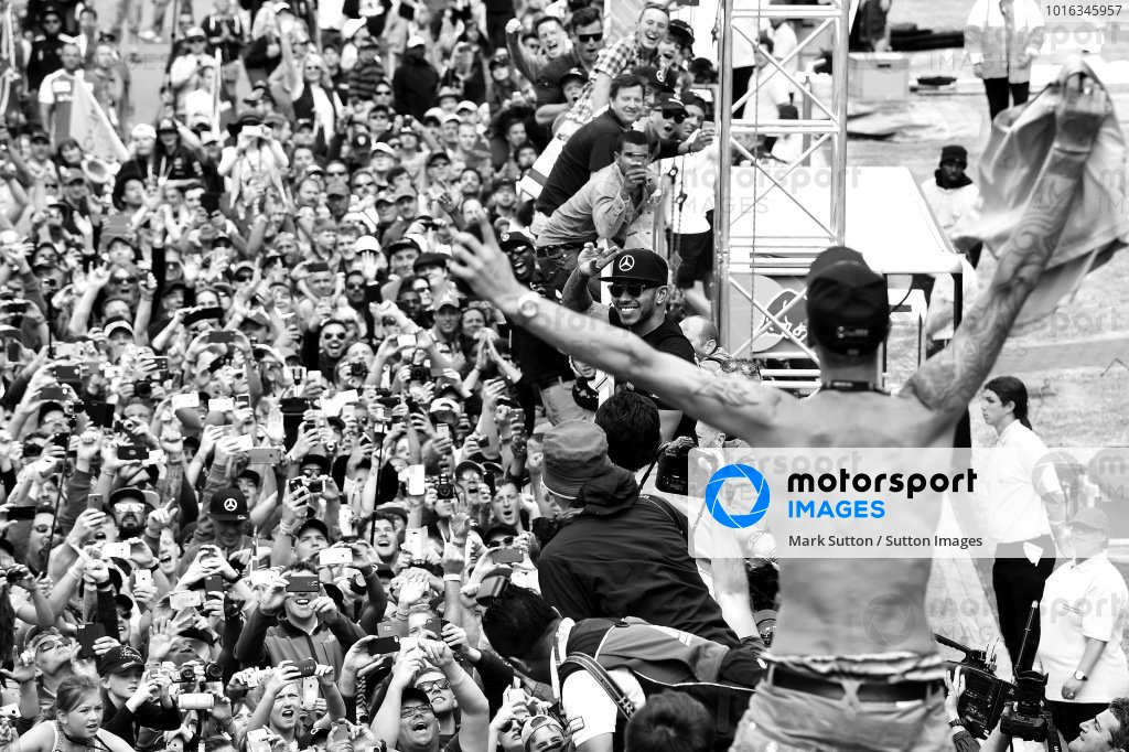 Race winner Lewis Hamilton (GBR) Mercedes AMG F1 celebrates with the fans at Formula One World Championship, Rd9, British Grand Prix, Race, Silverstone, England, Sunday 5 July 2015.