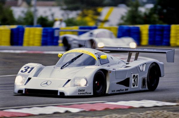 1991 Le Mans 24 hours. Le Mans, France. 22nd  - 23rd June 1991. Karl Wendlinger / Michael Schumacher / Fritz Kreutzpointner (Mercedes-Benz C11), 5th position, action.  World Copyright: LAT Photographic.  Ref:  91LM j