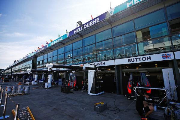 Albert Park, Melbourne, Australia. Wednesday 16 March 2016. The McLaren garage World Copyright: Andrew Hone/LAT Photographic. ref: Digital Image _ONZ9795