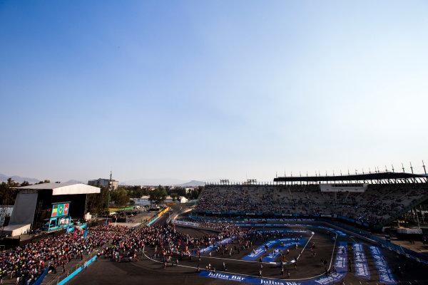 2015/2016 FIA Formula E Championship. Mexico City ePrix, Autodromo Hermanos Rodriguez, Mexico City, Mexico. Saturday 12 March 2016. Lucas Di Grassi (BRA), ABT Audi Sport FE01, Jerome D'Ambrosio (FRA) Dragon Racing - Venturi VM200-FE-01 and Sebastien Buemi (SUI), Renault e.Dams Z.E.15. Photo: Zak Mauger/LAT/Formula E ref: Digital Image _L0U8583