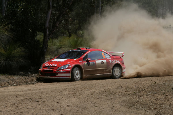 2004 FIA World Rally Champs. Round Sixteen, Rally Australia.11th - 14th November 2004.Harri Rovanpera, Peugeot, action.World Copyright: McKlein/LAT