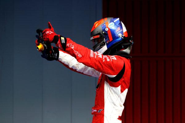 Circuit de Catalunya, Spain. 9th May 2010. Sunday Race. Alexander Rossi (USA, ART Grand Prix) celebrates victory in parc ferme.Portrait. Photo: Andrew Ferraro/GP3 Media Service. Digital Image _Q0C2751