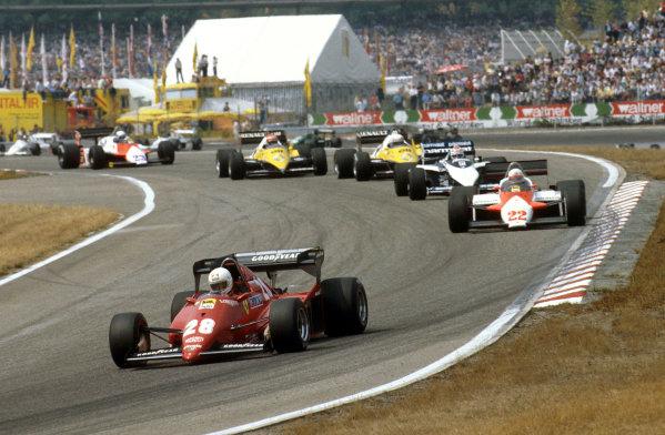 Hockenheim, Germany.5-7 August 1983.Rene Arnoux (Ferrari 126C3) leads Andrea de Cesaris (Alfa Romeo 183T), Nelson Piquet (Brabham BT52B BMW), Alain Prost and Eddie Cheever (both Renault RE40's) into the Sudkurve.Ref-83 GER 03.World Copyright - LAT Photographic