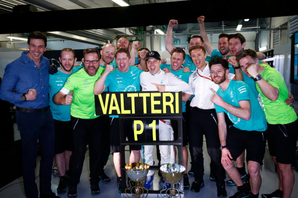 Sochi Autodrom, Sochi, Russia. Sunday 30 April 2017. Valtteri Bottas, Mercedes AMG, 1st Position, and the Mercedes team celebrate victory. World Copyright: Andy Hone/LAT Images ref: Digital Image _ONY1183