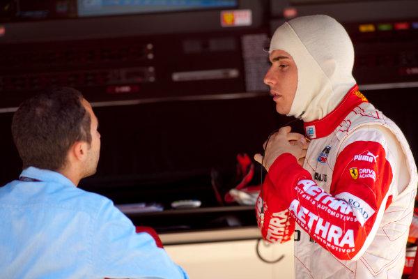 Round 3 Istanbul Park, Istanbul Turkey. 28th May. Friday Qualifying.Jules Bianchi (FRA, ART Grand Prix) talks with Nicolas Todt, ART Grand Prix team principal. Portrait. Photo: Drew Gibson/GP2 Media Service.Ref: _Y2Z9004 jpg