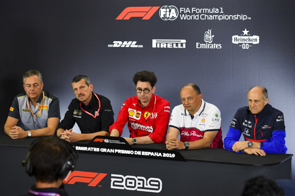 Mario Isola, Racing Manager, Pirelli Motorsport, Guenther Steiner, Team Principal, Haas F1, Mattia Binotto, Team Principal Ferrari, Frederic Vasseur, Team Principal, Alfa Romeo Racing, and Franz Tost, Team Principal, Toro Rosso, in the team principals Press Conference