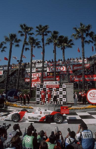 2001 CART Toyota Grand Prix of Long Beach, 6-8 April, 2001, Streets of Long Beach, CA, USAThe three Brazilian drivers listen to their national anthem.20 MB File-2001, Michael L. Levitt, USALAT Photographic