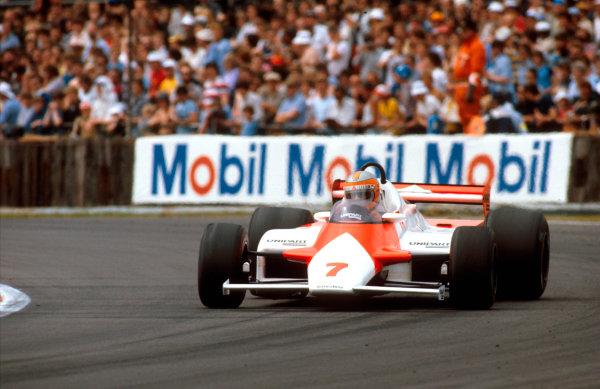 1981 British Grand Prix.Silverstone, England.16-18 July 1981.John Watson (McLaren MP4/1 Ford) 1st position.Ref-81 GB 08.World Copyright - LAT Photographic