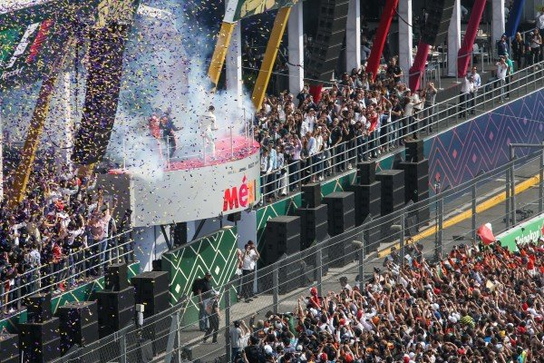 Podium celebrations at Formula One World Championship, Rd18, Mexican Grand Prix, Race, Circuit Hermanos Rodriguez, Mexico City, Mexico, Sunday 29 October 2017.