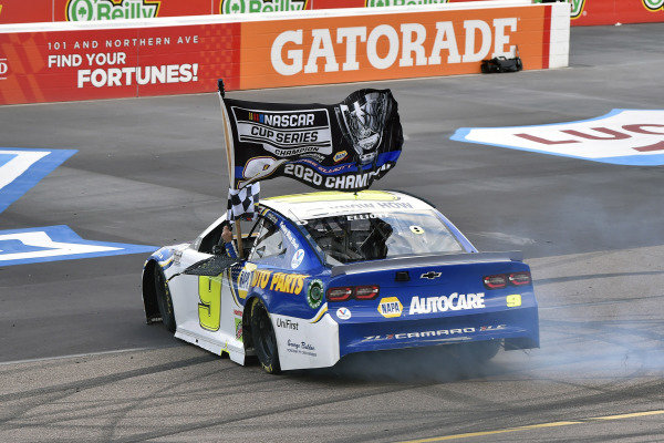 #9: Chase Elliott, Hendrick Motorsports, Chevrolet Camaro NAPA Auto Parts celebrates his Championship
