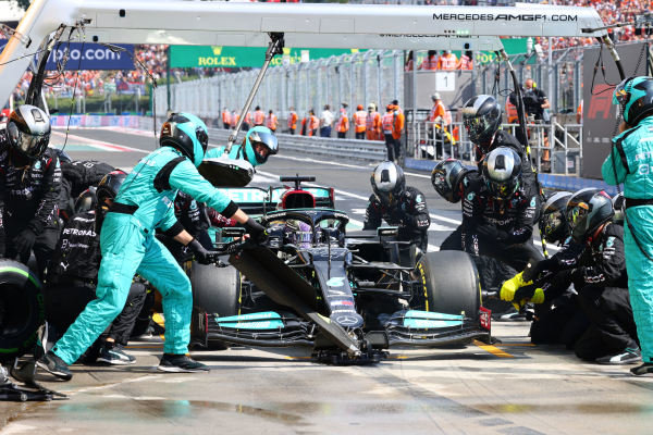 Sir Lewis Hamilton, Mercedes W12, in the pits