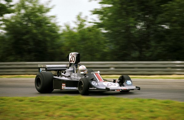 Alan Jones (AUS) Custom Made Harry Stiller Racing Hesketh 308B crashed out of the race on the second lap.  Belgian Grand Prix, Zolder, 25 May 1975. BEST IMAGE