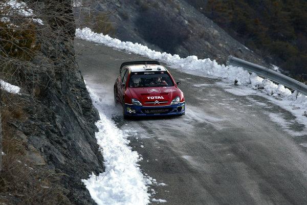 2003 FIA World Rally Championship. Monte Carlo, Monaco. Rd1.23-26 January 2003.Carlos Sainz/Marc Marti (Citroen Xsara) 3rd position.World Copyright: McKlein/LAT Photographic