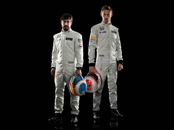 McLaren Honda MP4-30 Reveal Woking, UK. 29 January 2015 Jenson Button and Fernando Alonso. Photo: McLaren (Copyright Free FOR EDITORIAL USE ONLY) ref: Digital Image MH-Drivers-20150127-0504b