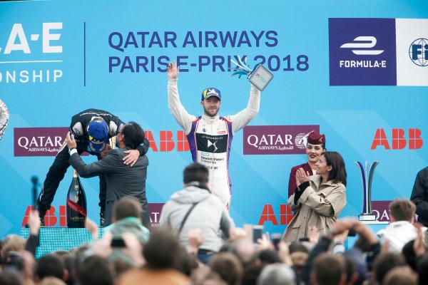 Sam Bird (GBR), DS Virgin Racing, DS Virgin DSV-03, finishes 3rd with Lucas Di Grassi (BRA), Audi Sport ABT Schaeffler, Audi e-tron FE04, finishing 2nd and Jean-Eric Vergne (FRA), TECHEETAH, Renault Z.E. 17 winning the Paris ePrix.