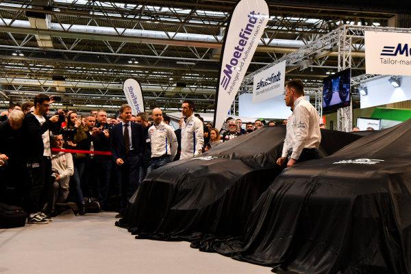 Autosport International Exhibition. National Exhibition Centre, Birmingham, UK. Thursday 11th January 2017. Malcolm Wilson, Sebastien Ogier and Elfyn Evans from M-Sport Ford gather at the WRC season launch.World Copyright: Mark Sutton/Sutton Images/LAT Images Ref: DSC_7204