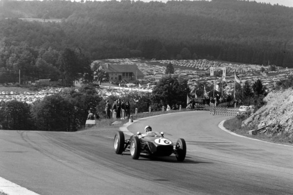 1960 Belgian Grand Prix Spa-Francorchamps, Belgium. 19 June 1960 Alan Stacey, Lotus 18-Climax, fatal accident after 24 laps, action World Copyright: LAT PhotographicRef: Autosport b&w print