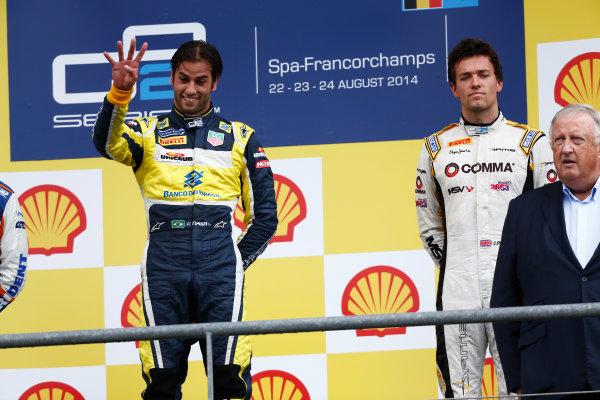 2014 GP2 Series Round 8. Spa-Francorchamps, Spa, Belgium. Sunday 24 August 2014. Felipe Nasr (BRA, Carlin) & Jolyon Palmer (GBR, DAMS)  Photo: Sam Bloxham/GP2 Series Media Service. ref: Digital Image _SBL7692