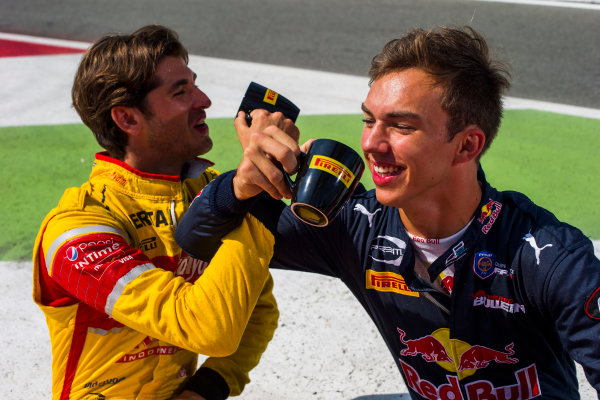 2016 GP2 Series Round 9 Autodromo di Monza, Italy. Thursday 1 September 2016. Antonio Giovinazzi (ITA, PREMA Racing) & Pierre Gasly (FRA, PREMA Racing)  Photo: Sam Bloxham/GP2 Series Media Service. ref: Digital Image _SLA6176