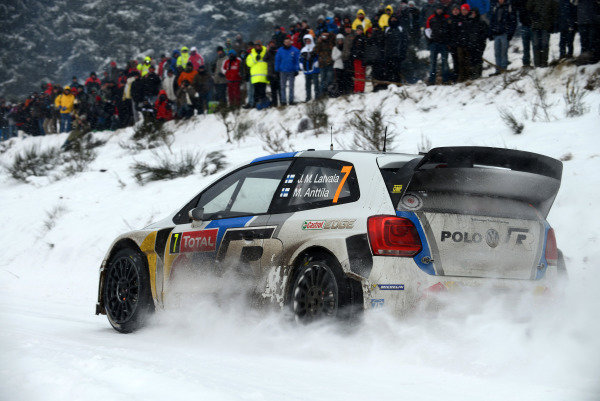 Jari-Matti Latvala (FIN) and Miikka Anttila (FIN), VW Polo WRC on stage 9. FIA World Rally Championship, Rd1, Rally Monte Carlo, Day Two, Monte Carlo, 17 January 2013.