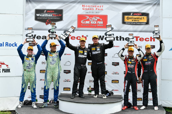 IMSA Continental Tire SportsCar Challenge Lime Rock Park 120 Lime Rock Park, Lakeville, CT USA Saturday 22 July 2017  27, Mazda, Mazda MX-5, ST, Britt Casey Jr, Matt Fassnacht, 25, Mazda, Mazda MX-5, ST, Chad McCumbee, Stevan McAleer, 84, BMW, BMW 328i, ST, James Clay, Tyler Cooke World Copyright: Richard Dole LAT Images ref: Digital Image RD_LRP_17_01185