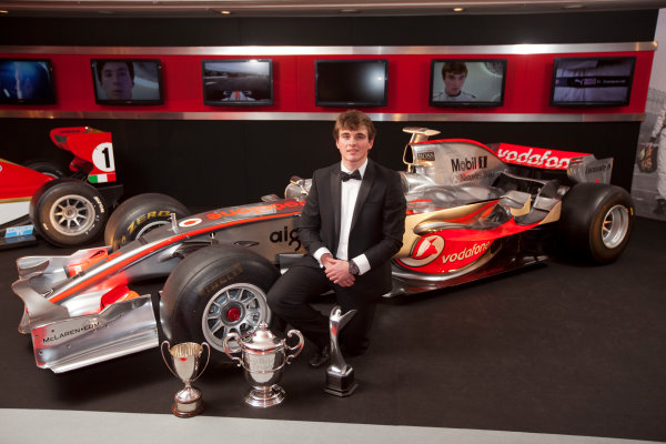 Grosvenor House Hotel, Park Lane, London 4th December 2011 McLaren Autosport BRDC Young Driver of the Year Award winner Oliver Rowland poses with the McLaren Mercedes F1 display car.World Copyright: Glenn Dunbar/LAT Photographic ref: Digtal Image GD5D0430