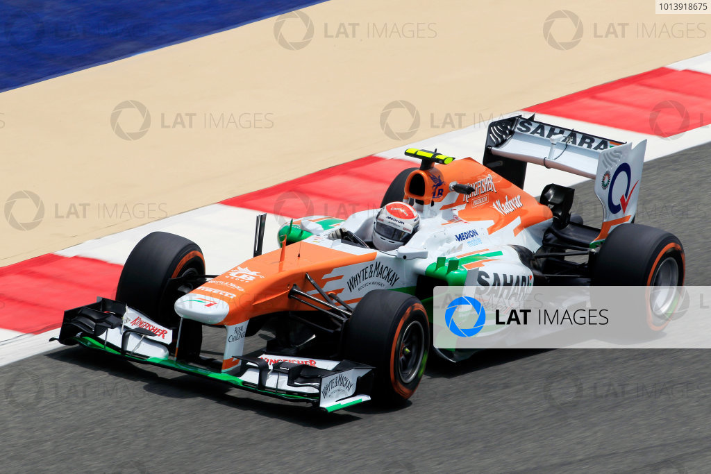 Bahrain International Circuit, Sakhir, Bahrain Friday 19th April 2013 Adrian Sutil, Force India VJM06 Mercedes.  World Copyright: Charles Coates/LAT Photographic ref: Digital Image _X5J2620