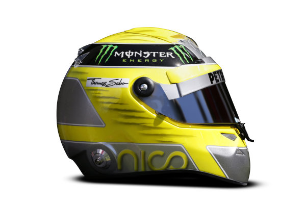 Albert Park, Melboune 14th March 2013 The helmet of Nico Rosberg, Mercedes AMG. World Copyright: LAT Photographic ref: Digital Image DKAL8826