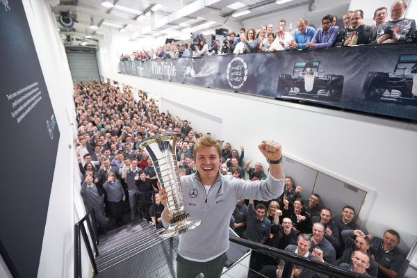 2016 Mercedes AMG F1 World Championship Celebrations. Mercedes F1, Brackley, UK Thursday 1st December 2016. F1 World Champion Nico Rosberg pays a visit to the factory with the FIA trophy. Photo: Steve Etherington/LAT Photographic ref: Digital Image SNE22612