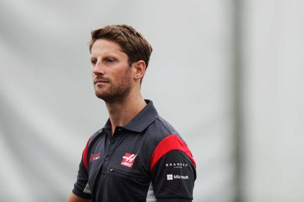 Sepang International Circuit, Sepang, Malaysia. Friday 29 September 2017. Romain Grosjean, Haas F1.  World Copyright: Zak Mauger/LAT Images  ref: Digital Image _56I0220