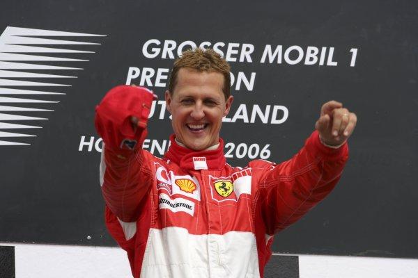 2006 German Grand Prix - Sunday Race Hockenheim, Germany. 27th - 30th July. Michael Schumacher (1st position), Ferrari, celebrates on the podium. World Copyright: Lorenzo Bellanca/LAT Photographic ref: Digital Image ZD2J2077