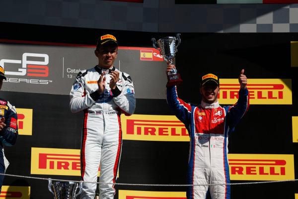 2016 GP3 Series Round 1 Circuit de Catalunya, Barcelona, Spain. Sunday 15 May 2016. Alexander Albon (THA, ART Grand Prix) & Antonio Fuoco (ITA, Trident)  Photo: Sam Bloxham/GP3 Series Media Service. ref: Digital Image _R6T9484