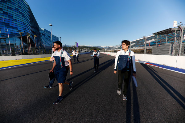 Sochi Autodrom, Sochi, Russia. Thursday 27 April 2017. Lance Stroll, Williams Martini Racing, conducts a track walk with colleagues. World Copyright: Glenn Dunbar/LAT Images ref: Digital Image _X4I5430