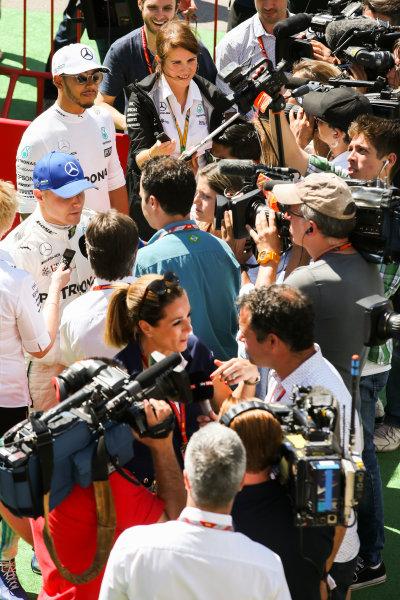 Circuit de Catalunya, Barcelona, Spain. Saturday 13 May 2017. Lewis Hamilton, Mercedes AMG, and Valtteri Bottas, Mercedes AMG, are interviewed. World Copyright: Charles Coates/LAT Images ref: Digital Image DJ5R8964