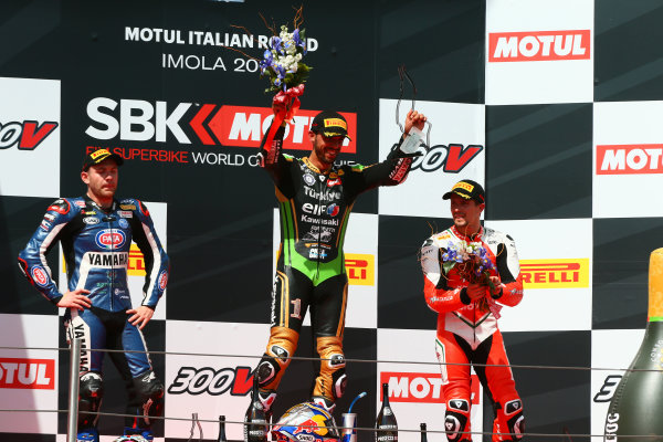 2017 Superbike World Championship - Round 5 Imola, Italy. Sunday 14 May 2017 Podium SSP: race winner Kenan Sofuoglu, Kawasaki Puccetti Racing, second place Lucas Mahias, GRT Yamaha Official WorldSSP Team, third place P.J. Jacobsen, MV Agusta World Copyright: Gold and Goose Photography/LAT Images ref: Digital Image 18860