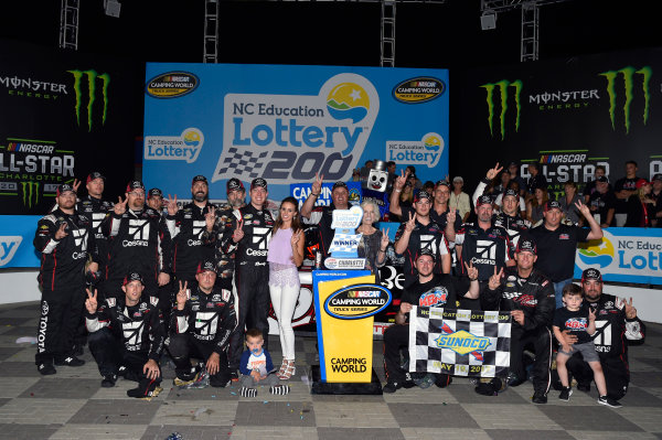 NASCAR Camping World Truck Series North Carolina Education Lottery 200 Charlotte Motor Speedway, Concord, NC USA Friday 19 May 2017 Kyle Busch, Cessna Toyota Tundra celebrates his win in Victory Lane World Copyright: Nigel Kinrade LAT Images ref: Digital Image 17CLT1nk04913
