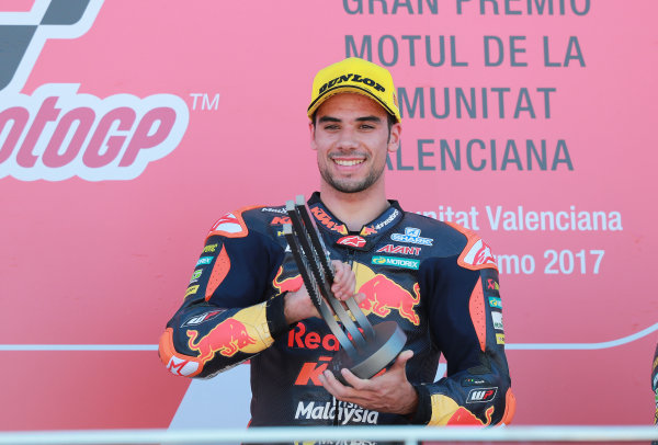 2017 Moto2 Championship - Round 18 Valencia, Spain  Sunday 12 November 2017 Podium: Race winner Miguel Oliveira, Red Bull KTM Ajo  World Copyright: Gold and Goose Photography/LAT Images  ref: Digital Image 706496