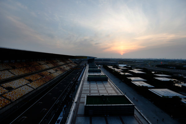 Shanghai International Circuit, Shanghai, China. Friday 10 April 2015. A view over the circuit at sunset. World Copyright: Charles Coates/LAT Photographic. ref: Digital Image _N7T0327