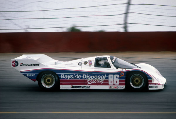Pocono 500 Kms, Long Pond, Pennsylvania, USA. 8th September 1985. Rd 14.  Rob Dyson/Drake Olson (Porsche 962), 11th position, action.  World Copyright: LAT Photographic.  Ref:  85IMSA POC02