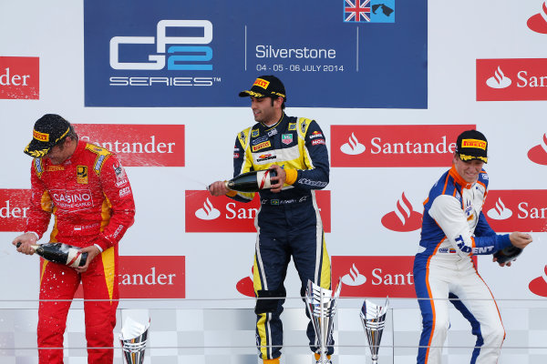 2014 GP2 Series Round 5. Silverstone International Circuit, Silverstone, Northamptonshire, England Sunday 6 July 2014. Felipe Nasr (BRA, Carlin), Stefano Coletti (MON, Racing Engineering) & Johnny Cecotto (VEN, Trident)  Photo: Sam Bloxham/GP2 Series Media Service. ref: Digital Image _SBL8438