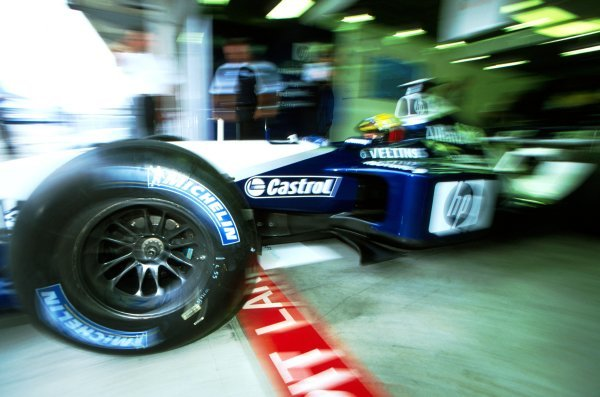 Ralf Schumacher (GER) Williams BMW FW24 leaves the garage.
