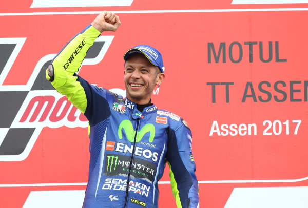 2017 MotoGP Championship - Round 8 Assen, Netherlands Sunday 25 June 2017 Podium: Race winner Valentino Rossi, Yamaha Factory Racing World Copyright: David Goldman/LAT Images ref: Digital Image 680255