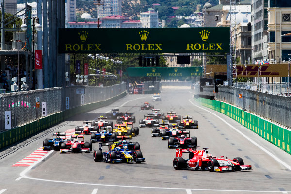 2017 FIA Formula 2 Round 4. Baku City Circuit, Baku, Azerbaijan. Saturday 24 June 2017. Charles Leclerc (MCO, PREMA Racing) leads Nicholas Latifi (CAN, DAMS) and the rest of the field at the start of the race. Photo: Zak Mauger/FIA Formula 2. ref: Digital Image _56I7418