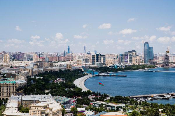 Baku City Circuit, Baku, Azerbaijan. Wednesday 21 June 2017. A view of the city from Dagustu (Upland) Park. World Copyright: Zak Mauger/LAT Images ref: Digital Image _56I5958