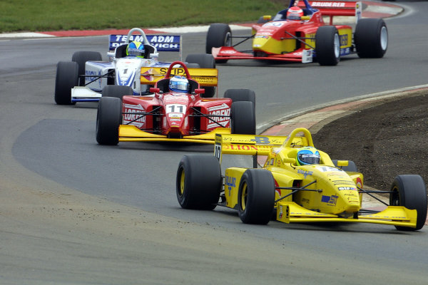 2001 European F3000 ChampionshipNurburgring, Germany. 16th September 2001.Felipe Massa (Draco Racing) leads Massimiliano Busnelli (Great Wall Racing) and Vitor Meira (ADM Motorsport), action.World Copyright: John Brook/LAT Photographicref: Digital Image Only