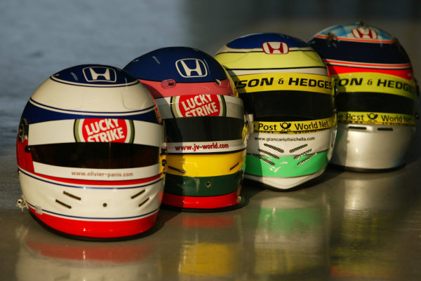 2002 Brazilian Grand Prix - Friday PracticeInterlagoes, Sao Paulo. 29th March 2002The Honda drivers helmets. (L-R) Panis, Villeneuve, Fisichella and Sato.World Copyright - LAT Photographicref: Digital File Only
