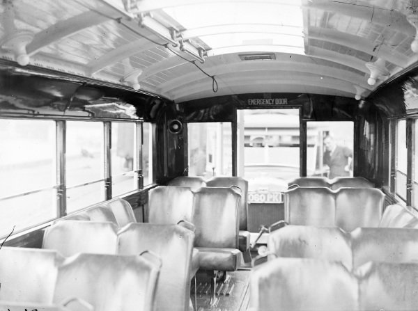 The inside of a new bus.