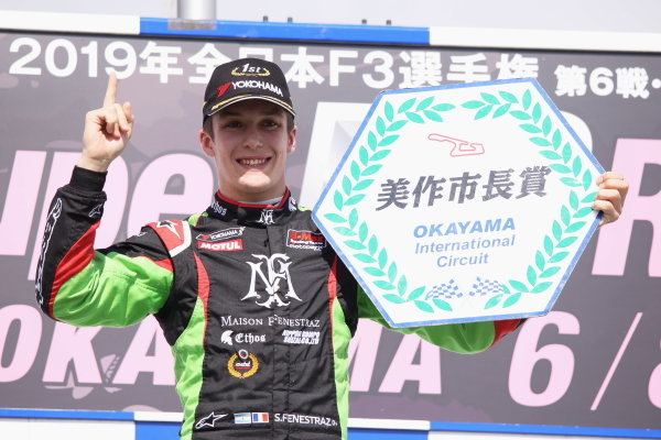 Round 6 podium. Winner Sacha Fenestraz, B-Max Racing with Motopark Dallara F314 Volkswagen. Photo by Masahide Kamio