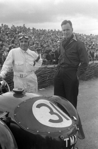 Norman Culpan / Lt Cdr Peter Wilson, N.R. Culpan, Frazer-Nash High Speed LMR, after the race.
